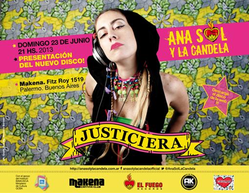Ana Sol & La Candela. Flyer para presentación del disco.